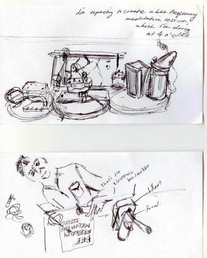 2013 – Hack the Barbican: Bazaar, Barbican, London, drawing by Mia Gubbay